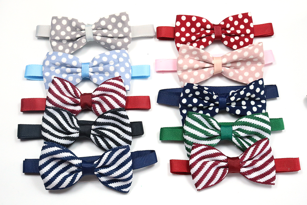 100pcs Dot Stripe Pet Supplies Cat Pet Dog Bowties Ties Supply Pet Bow Tie Wedding Accessories