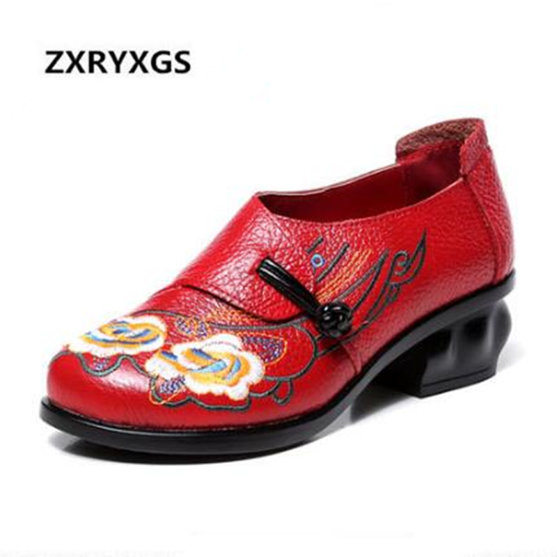 New 2019 Beautiful Handmade Embroidered Real Genuine Leather Shoes Woman Non slip Comfortable Soft Women Shoes