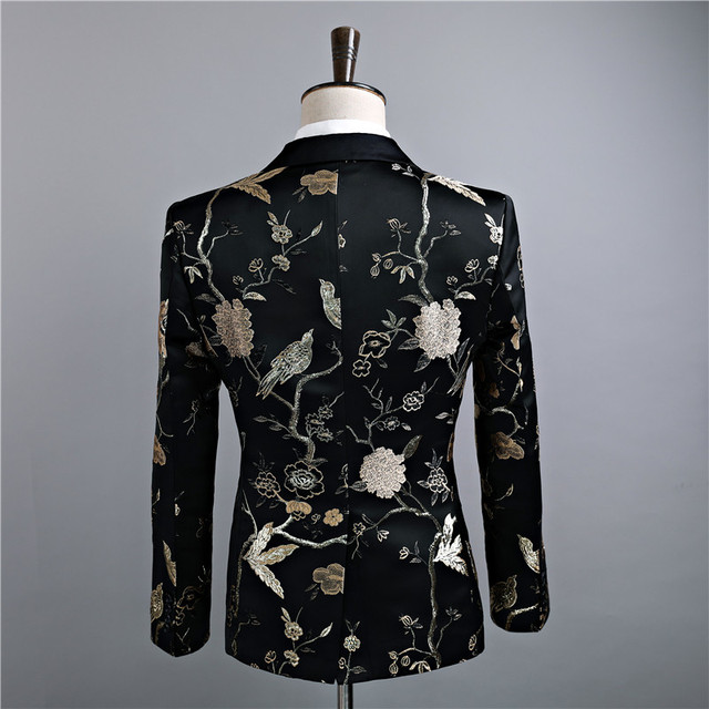 Jacket+Pants Fashion Men Suits Blazers Slim Fit Black Gold Floral Male Singer DJ Wedding Casual Suit Tuxedo Luxury Men's Derss