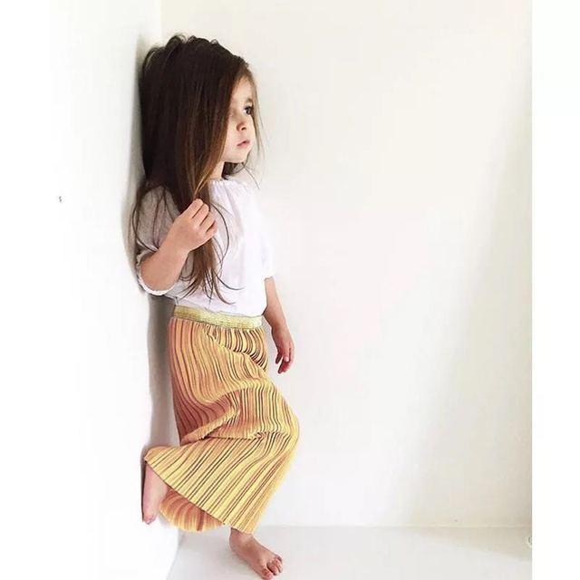 2017 Spring Summer Girls vintage pleated skirt baby girls skirts Children's Apparel Girl's Hem Skirt Bohemian Skirt Red Golden