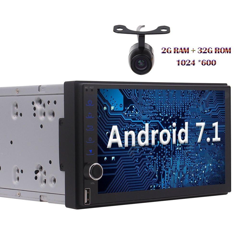 Android 7.1 2din Autoradio Octa core Stereo HD Touchscreen GPS Sat Navi Bluetooth Radio USB/SD Camera FM WIFI 4G/3G Head Unit