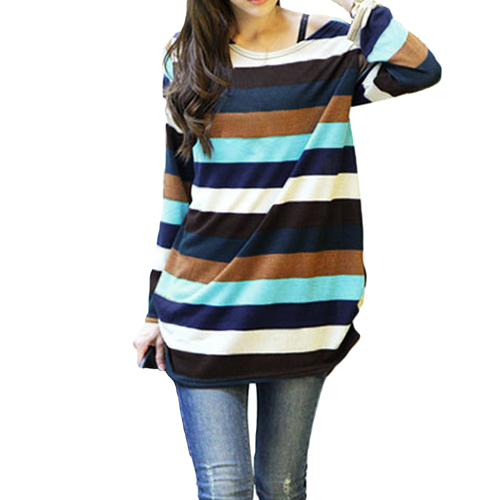 2019 Autumn Loose Casual Colorful Striped Knitted Tops Korean Fashion Pullovers Women Sweater Long Tops Jumpers Female Tunics