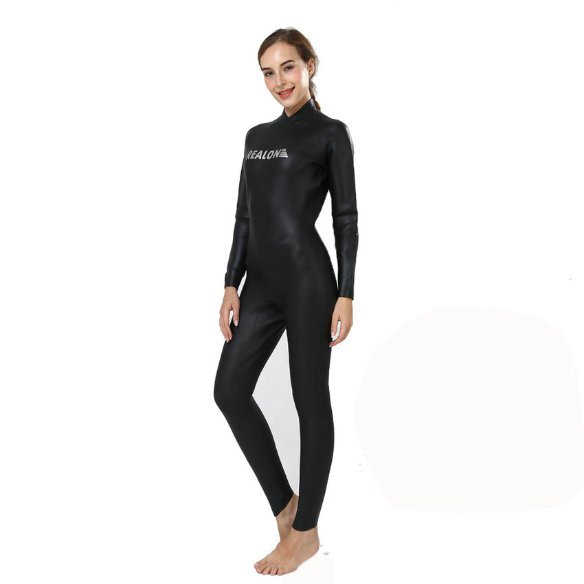 REALON Wetsuits 3mm CR Neoprene Smooth skin Lady body Suit Full Body Diving Snorkeling Swimming Scuba Women Surfing Costumes women s wetsuit 3mm premium neoprene diving suit full length snorkeling wetsuits full body