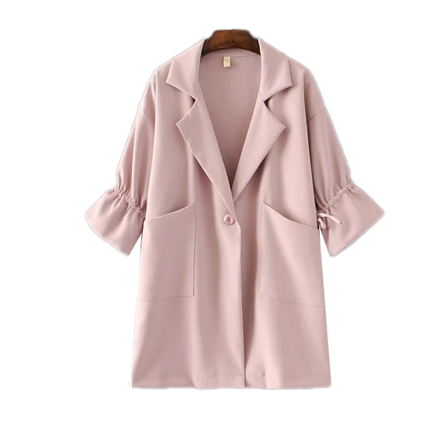 In the spring of 2017 new women's fashion girl all-match drawstring collar suit sleeves loose long windbreaker jacket