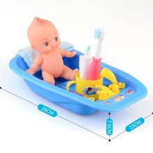 6PCS Plastic Bathtub With Baby Doll Bah Toy Set Classic For
