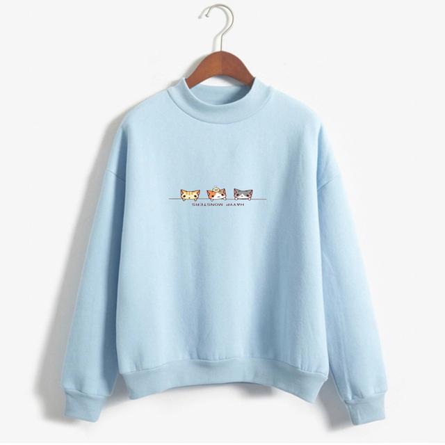 2018 Kawaii Harajuku Women Hoodies Cartoon Cats Sweatshirt Female Winter Warm Fleece Korean Sweatshirt Long Sleeve Jumpers