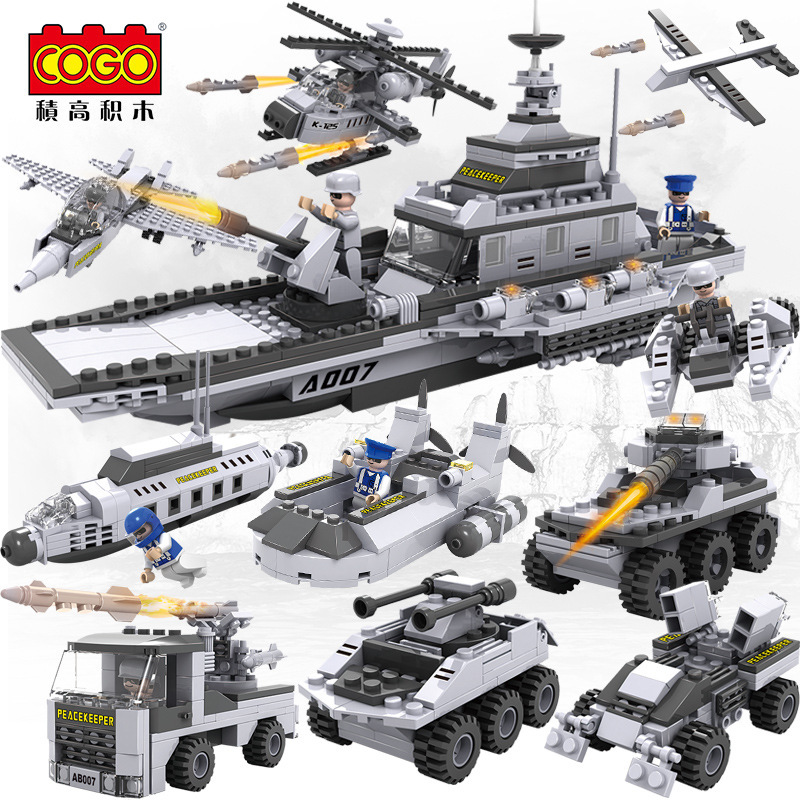 8 in 1 Military serise Aircraft Helicopter Tank Warship Chariots Fighting Vehicle Car Building Blocks Toys for boys gift 13007