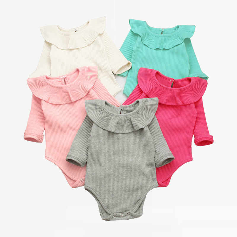 73025c11402 Korean Newborn Baby Clothes For Girls Baby Girl Rompers Fashion Spring Long  Sleeve Kids Boys Jumpsuit