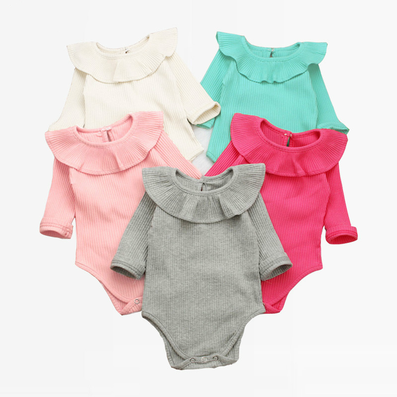ChicLadies Baby Newborn Girls Jumpsuit Flare Long Sleeve Infant Bodysuit Outfits Cotton Romper for Baby,Gray,24M