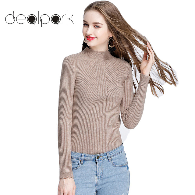 2017 Autumn Winter Basic Pullover Women Turtle Neck Sweaters Long