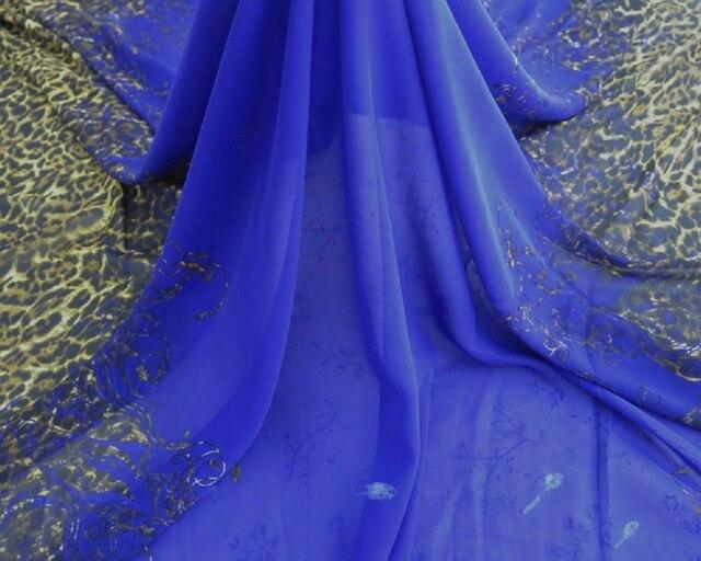 Mode Blau Lila Afrika Leopard Print Chiffon Stoff nähen kleid kleid ...