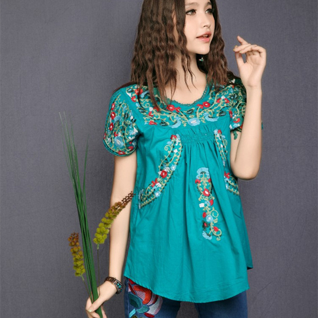 Vintage 70s SCALLOP Mexican Ethnic Embroidery Womens Dresses BOHO Hippie  Festival Blouse Summer Mini Dress Dress Cotton TOP 2018 493befd78c93