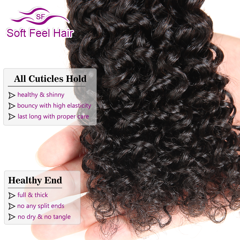 Soft Feel Hair Malaysian Kinky Curly Bundles With Closure Human Hair Bundles With Closure Remy Hair 3/4 Bundles With Closure