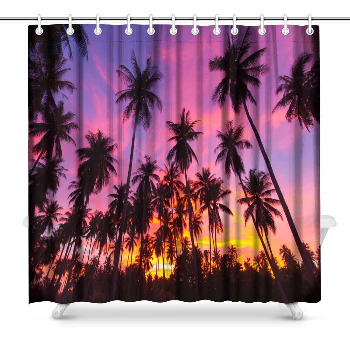 Us 16 94 20 Off Coconut Palm Tree Silhouette At Koh Samui Thailand Polyester Fabric Bathroom Shower Curtain Set With Hooks In Shower Curtains From