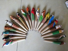20PCS New Arrival Wood Carving Craft Ballpoint Pen Cute Cartoon Colored Drawing Handmade Birds Promotional Animal