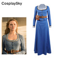 Westworld Dolores Abernathy Dress Cosplay Costume Women fancy Blue Dresses Party Halloween Shirt&Long Skirt Free DHL Shipping