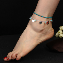 Купить Bohemian Blue Beaded Ankle Bracelet Summer Beach Gold Silver Sequins Double Layered Foot Chain Anklets for Women онлайн с доставкой