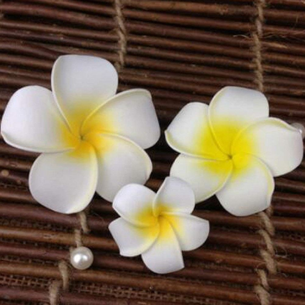 3 Pcs Hawaiian Plumeria Flower Headpiece Hairpin Barrette Hair Clip Accessory Fancy Dress For Wedding