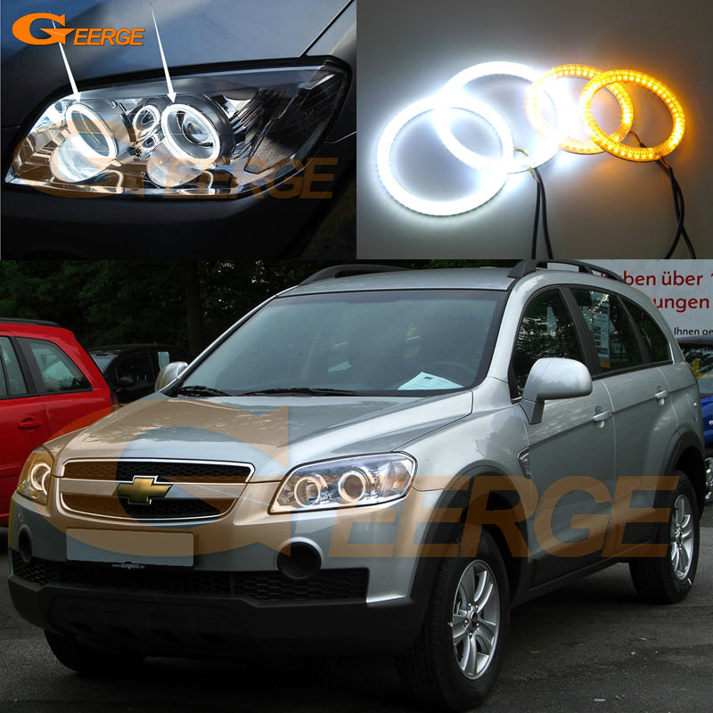 For Chevrolet Captiva S3X 2006 2007 2008 2009 2010 Excellent Ultra bright Dual Color Switchback smd LED Angel Eyes kit
