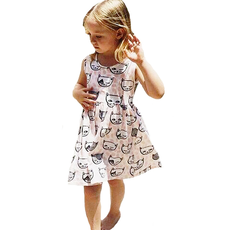 New Summer Style Baby Girl Clothing Dresses Cartoon Cat -9128