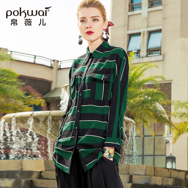 POKWAI Office Lady Striped Blouse Shirt Women Fashion 2018 New Arrival Nine Quarter Sleeve Turn-Down Collar Single Breasted Tops
