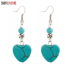 SHEEGIOR Lovely Turquoises Heart Drop Earrings Bijoux Femme Silver Flower Pendants Long Ea