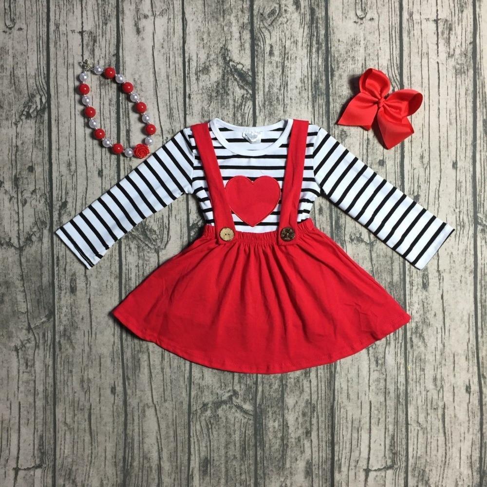 Primavera/invierno Bebé niñas ropa de algodón halter top de Día de San Valentín botón correas vestido de boutique volantes encuentro Accesorios