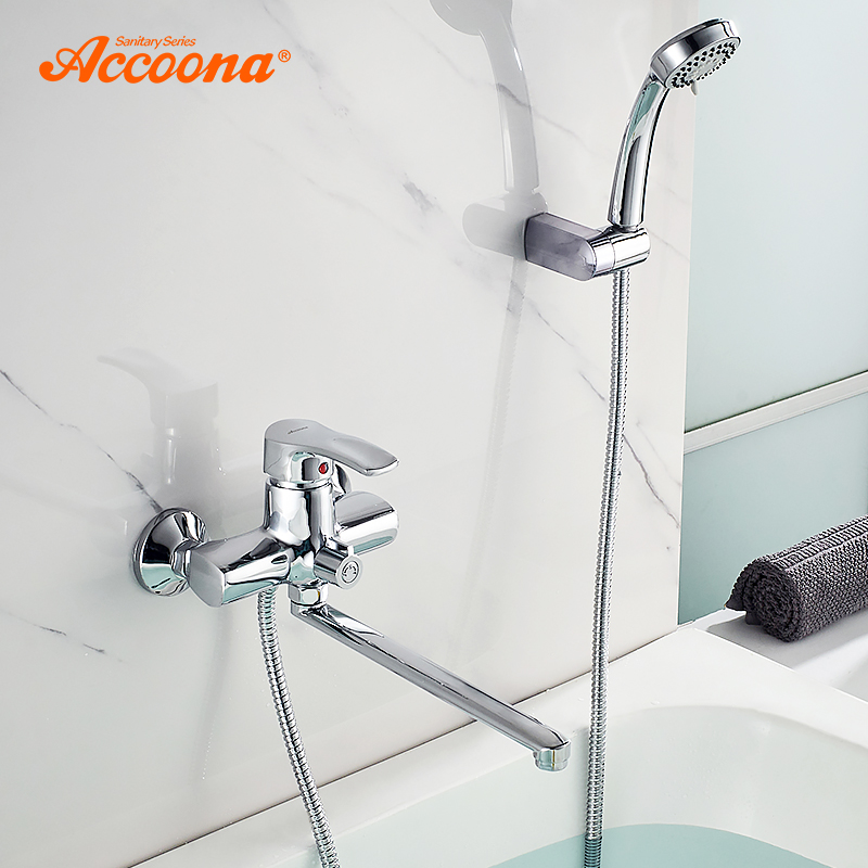 Accoona Bathtub Faucet Outlet Pipe Bathtub Shower Faucets Surface Chrome with Shower Head Bathroom Cold and Hot Tap A7103 недорго, оригинальная цена