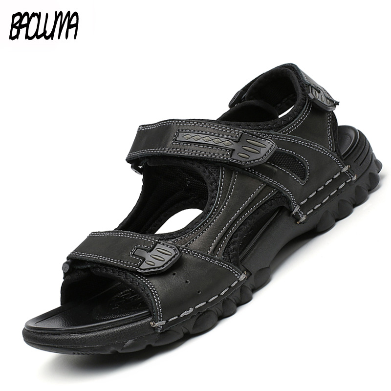 Mens Sandals Leather Men Summer Shoes Casual Big Size Gladiator Sandals For Men Leisure Beach Shoes Soft Bottom