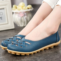 Loafers Genuine Leather Flat Women Shoes Pigskin Shallow Ladies Shoes Slip On Hollow Round Toe Big