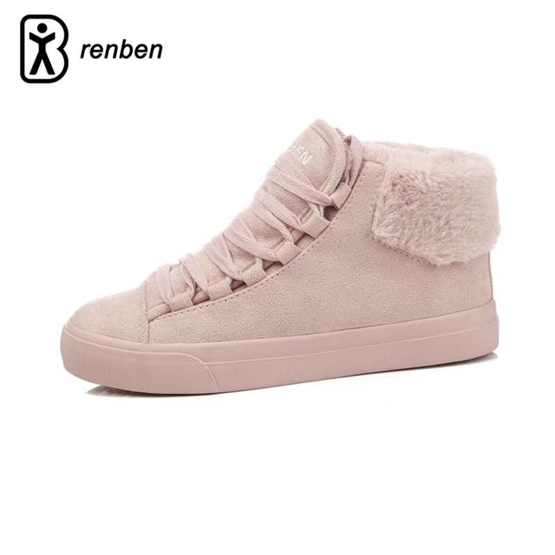RenBen Plush Women Warming Boots Suede Outdoor Winter Feather Casual Shoes Durable Female Snow Boots Footwear