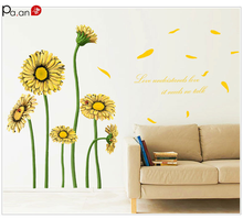 Sun Flower Wall Decals Daisy 3d Wall Stickers for Kids Rooms Living Room Decoration Peel and Stick Wall Tile Bathroom Decor цена 2017