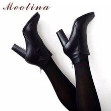Meotina Echt Lederen Schoenen Vrouwen Enkellaarsjes Herfst Dikke Hoge Hak Vrouwelijke Laarzen Zip Winter Handgemaakte Lederen Schoenen Laars Zwart
