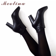 Meotina Genuine Leather Shoes Women Ankle Boots Autumn Thick High Heel Female Boots Zip Winter Handmade Leather Shoes Boot Black