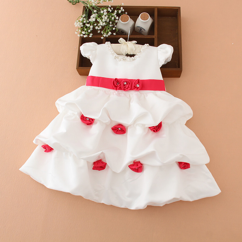 YNB 3Y~8Y Kids Girls Princess Dresses Children Baby Girl  Ball Gown Dresses for Wedding and Party 2 Colors Flower Girl Dress akg y 20u