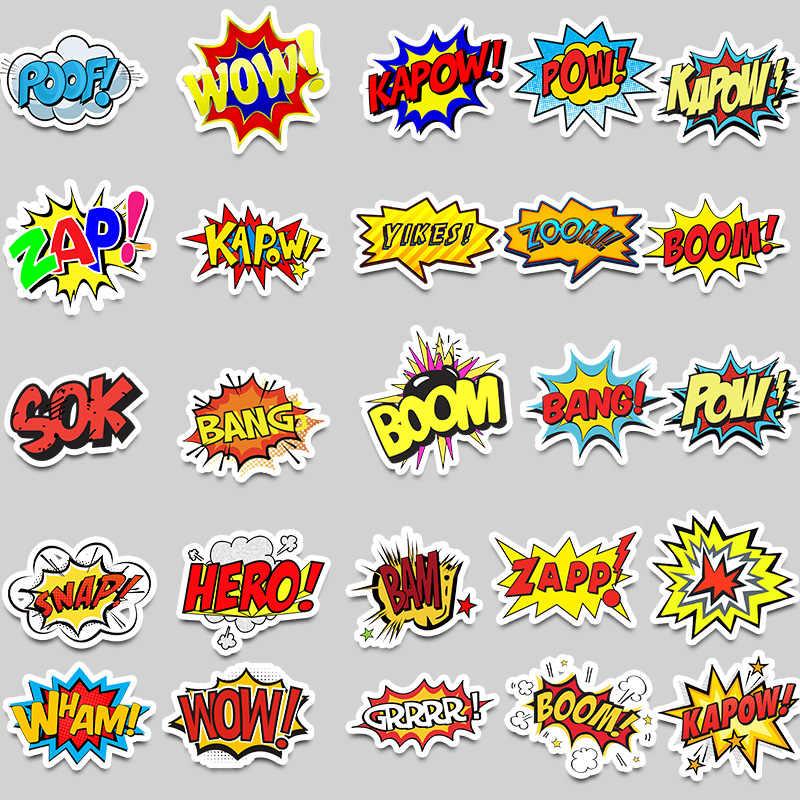 50 pcs/pack oops bang boom wow pow Graffiti mots autocollants pour ordinateur portable Skateboard guitare réfrigérateur Moto vélo étanche voiture décalcomanies