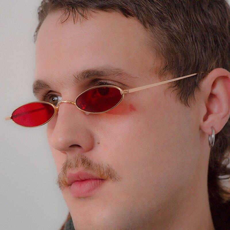 Small oval vintage sunglasses women men metal frame black pink red sun glasses 2018 female sahdes lunettes de sol femme