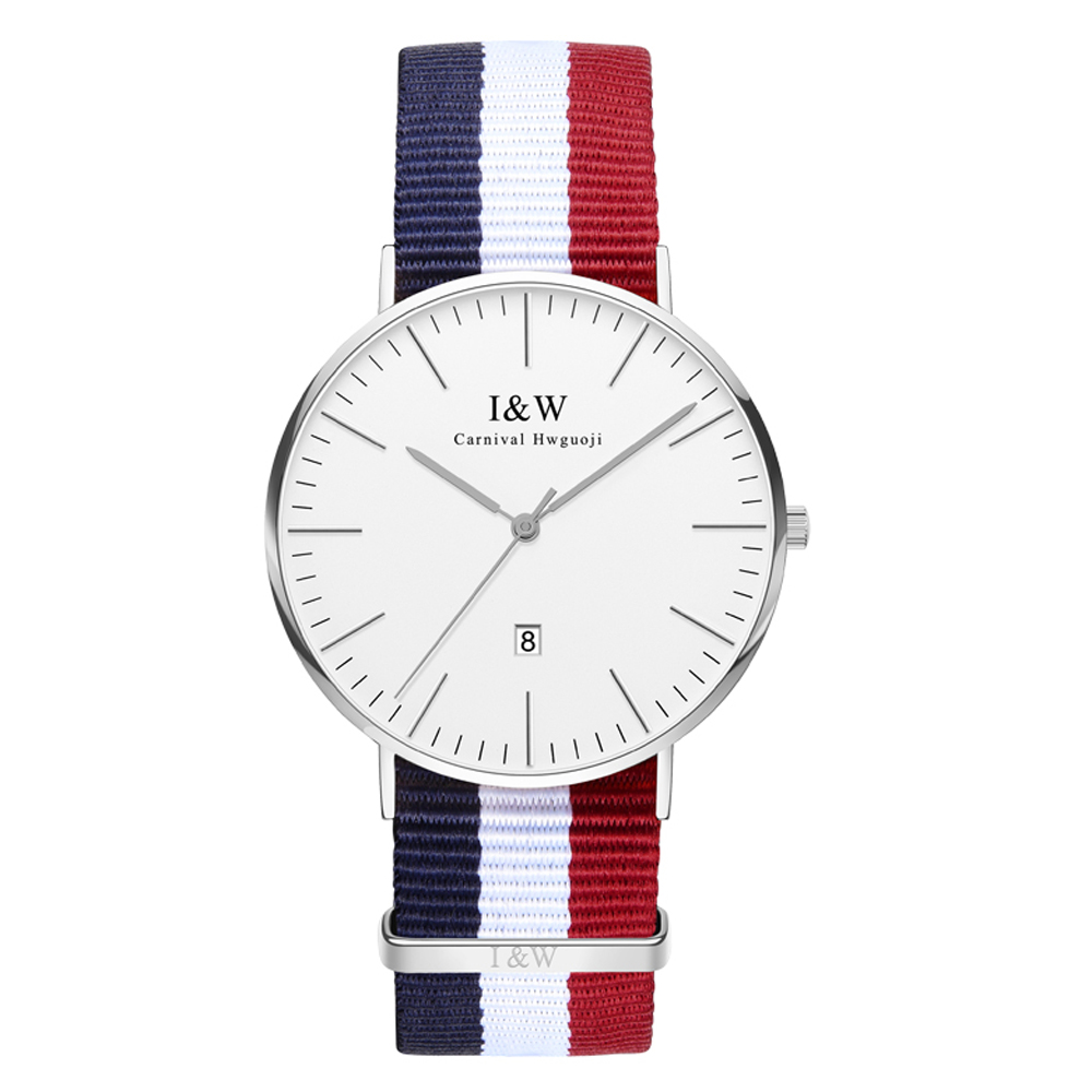 IW 8758G-3 men's and women's Quartz-Watch fabric Classic Canterbury Stainless Steel Watch With Multi-Color Striped  Band