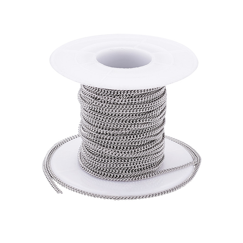 About 10m/roll Unwelded 304 Stainless Steel Curb Chains For Fashion Jewelry Making DIY Bracelet Necklace, 2.4x1.9x0.5mm F70