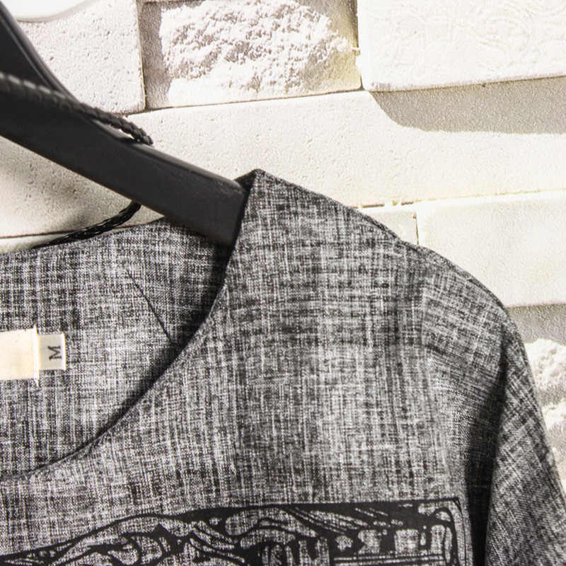 Pria Merek T-shirt Abu-abu Gelap 2019 Musim Gugur Baru Poker King Cetak Muda Fashion Pria Longgar Ukuran Besar Tujuh -Lengan 582609
