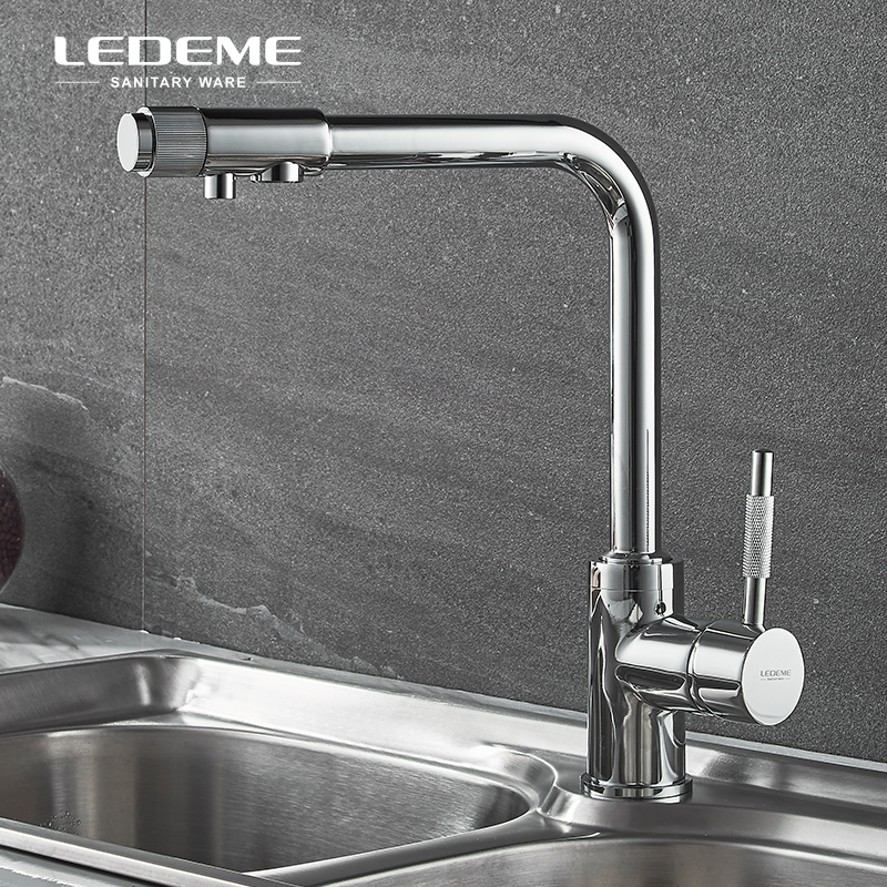 все цены на LEDME Filter Kitchen Basin Faucet With Rotatable Drinking Water Sprayer Dual-Handle Bar Water Tap Mixer For Kitchen,Chrome L4155
