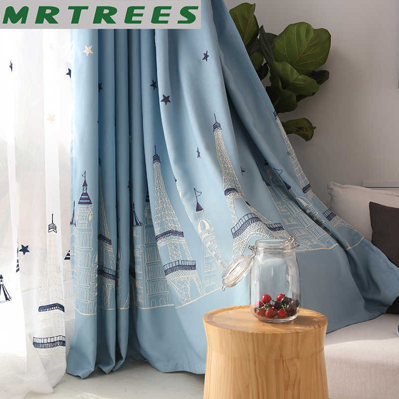 Blackout Blue Cartoon Window Curtain for Living Room Boys Children Bedroom Sheer Tulle Embroidered Curtains Kids Cortina MRTEERS