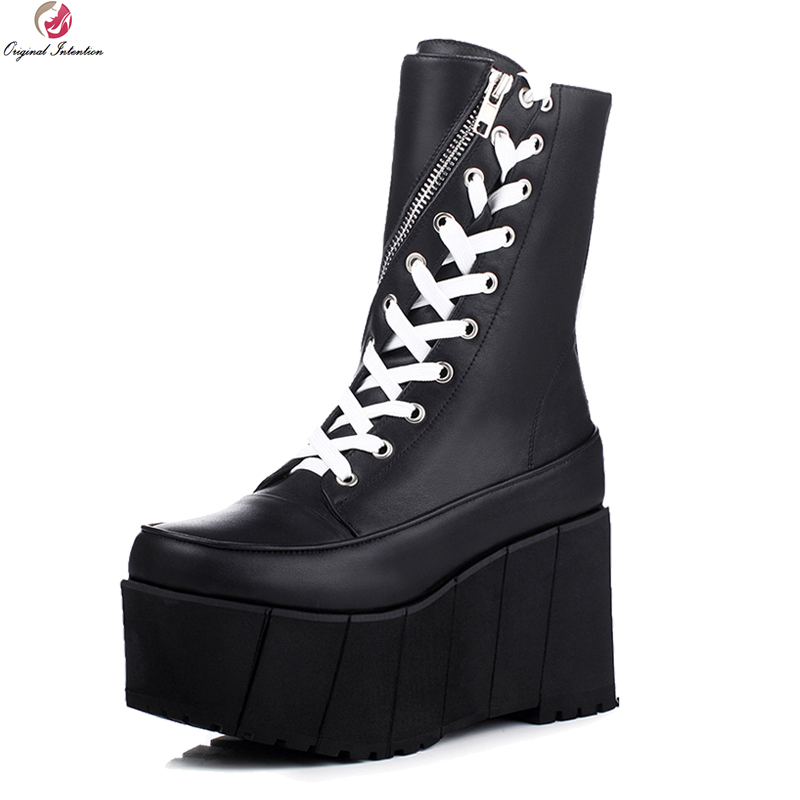 Original Intention High-quality Women Mid-Calf Boots Cow Leather Round Toe Wedges Boots Black White Shoes Woman US Size 3-9.5 new arrival superstar genuine leather chelsea boots women round toe solid thick heel runway model nude zipper mid calf boots l63