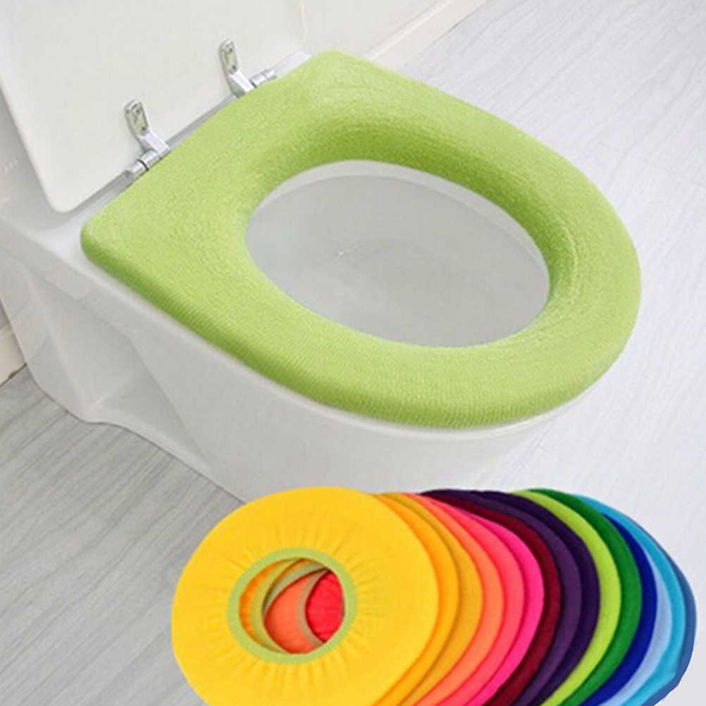 1 pc banheiro assento de vaso sanitário mais quente tapete capa de assento do toalete macio confortável bebê potty seat overcoat wc lavável colorido