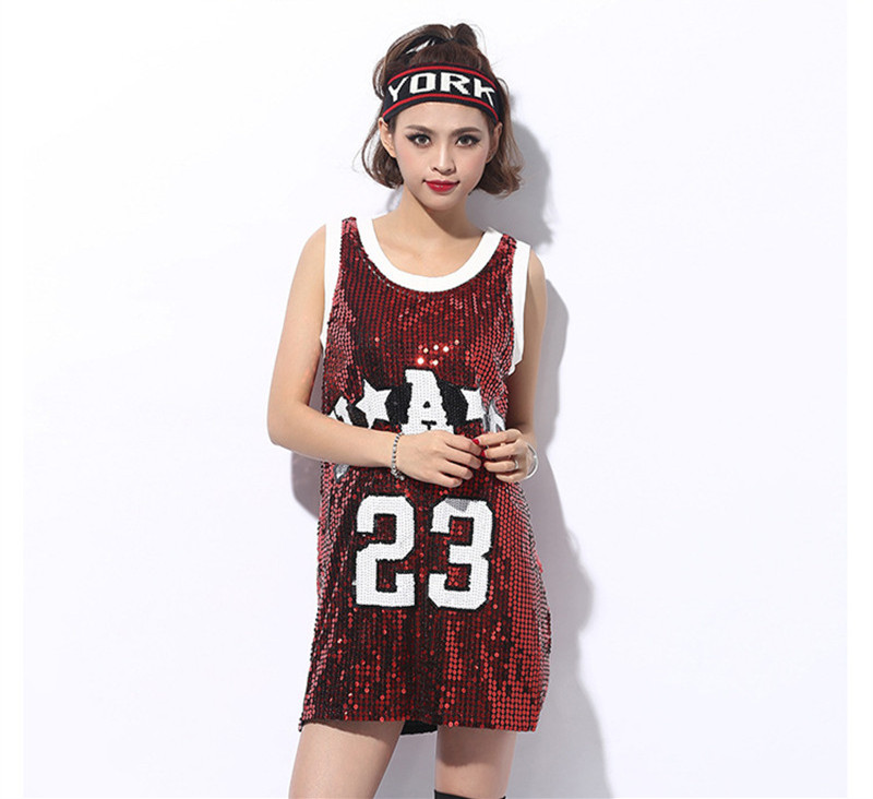 Detail Feedback Questions about 2018 Women Fashion Beyonce Bulls 1 Sequined  Tops Girls Casual 23 Tops Pole Dance Disco Jazz Dance Hip hop T Shirt on ... 8a3db08e53f5