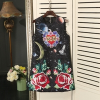 European Station 2017 Fall New Women S Dresses Heavy Nails Beading Flowers Embroidered Vests Dress Sleeveless