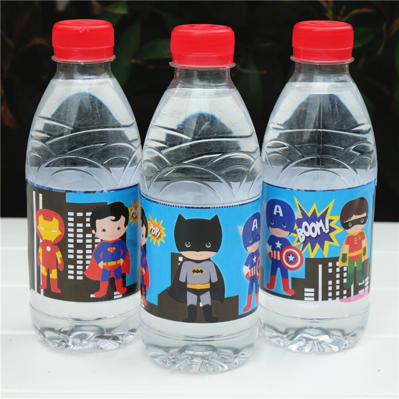 12pcs Avengers Batman Ironman Superman Hero Water Bottle Label Candy Bar  Kids Birthday Party Supplies Baby