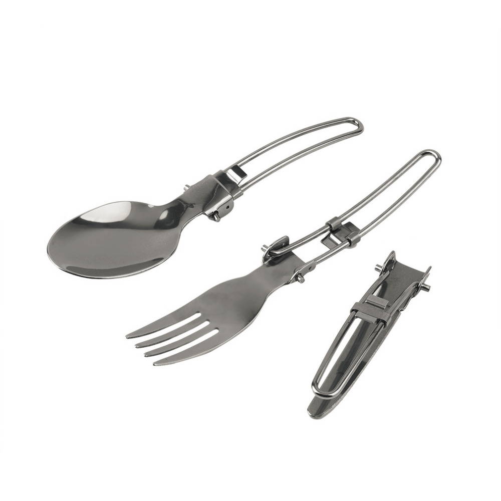 Constructive Outdoor Folding Tableware Three-piece Stainless Steel Knife & Fork & Spoon Dinnerware Set Drop Shipping Wholesale Hot Search Outdoor Tablewares Camping & Hiking