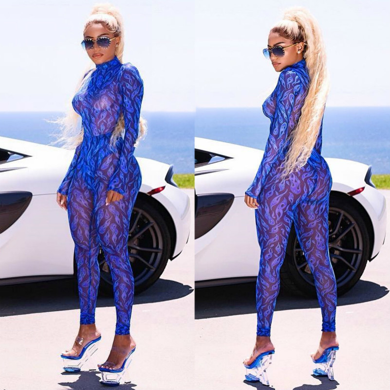 Muxu blue transparent bodysuit rompers womens   jumpsuit   long sleeve one piece feminino sexy body femme woman clothes playsuits