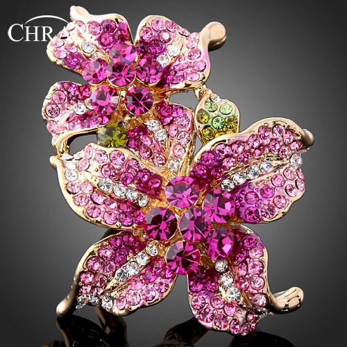 Chran New Wholesale Rhinestone Gold Color Flower Vintage Rings For Women Best Gifts Fashion New 2018 Jewelry  bijouterie Russia